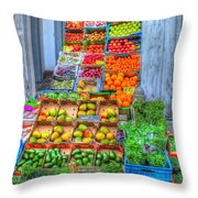 Vegetable And Fruit Stand Throw Pillow