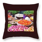 Vegetable Vendor - Omkareshwar India Throw Pillow