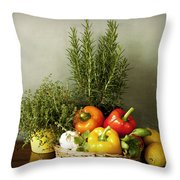 Vegetables And Aromatic Herbs In The Kitchen Throw Pillow