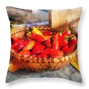 Vegetables - Hot Peppers In Farmers Market Throw Pillow