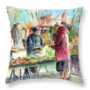Vegetables Seller In A Provence Market Throw Pillow