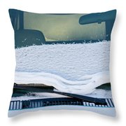 Vehicle Windshield Fresh Snow Thawing Throw Pillow