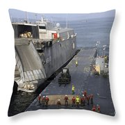 Vehicles Are Transferred Aboard Throw Pillow
