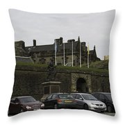 Vehicles At The Parking Lot Of Stirling Castle Throw Pillow