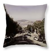 Vehicles On A Busy Road Also Used By The Tram Service Throw Pillow
