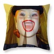 Veiled Laugh Throw Pillow