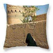 Veiled Woman In Yazd Street In Iran Throw Pillow