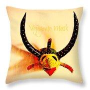 Vejigante Mask Throw Pillow by Lilliana Mendez