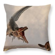 Velociraptor Chasing Small Mammal Throw Pillow