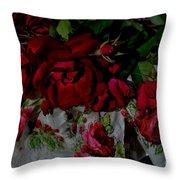 Red Velvet Roses Throw Pillow