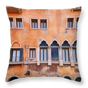 Venetian Building Wall With Windows Architectural Texture Throw Pillow
