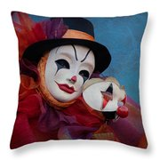 Venetian Carnival - Portrait Of Clown With Mask Throw Pillow