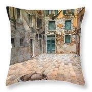 Venetian Courtyard 02 Elena Yakubovich Throw Pillow