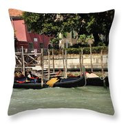 Venetian Gondolas Throw Pillow