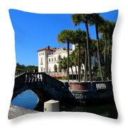 Venetian Style Bridge And Villa In Miami Throw Pillow