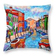 Venezia Colorful Burano Throw Pillow