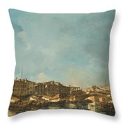 Venice A View Of The Rialto Bridge Looking North From The Fondamenta Del Carbon Throw Pillow