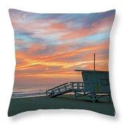 Venice Beach Lifeguard Station Sunset Throw Pillow