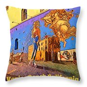Venice Beach Posterized Throw Pillow