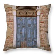 Venice Blue Arched Window Throw Pillow