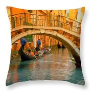 Venice Boat Bridge Oil On Canvas Throw Pillow