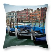 Venice Boats Throw Pillow