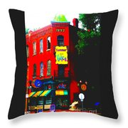 Venice Cafe' Painted And Edited Throw Pillow