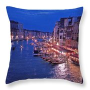Venice - Canale Grande By Night Throw Pillow
