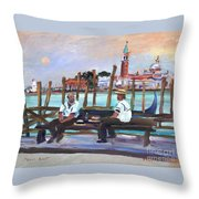 Venice Gondola With Full Moon Throw Pillow