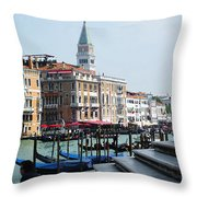 Venice Gondolas On Canal Grande Throw Pillow
