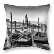 Venice Grand Canal And Goldolas In Black And White Throw Pillow