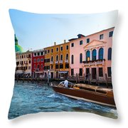Venice Grand Canal View Italy Sunny Day Throw Pillow