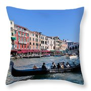Venice Italy Gondola With Tourists Floats On Grand Canal Throw Pillow