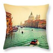 Venice Italy Grand Canal And Basilica Santa Maria Della Salute At Sunset Throw Pillow