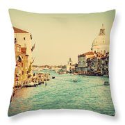 Venice Italy  Grand Canal In Vintage Style Throw Pillow