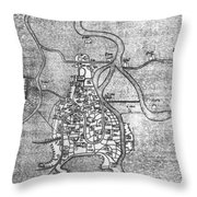 Venice: Map, 12th Century Throw Pillow