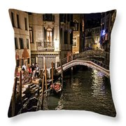 Venice Night By The Canal Throw Pillow