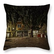 Venice Square At Night Throw Pillow