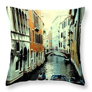 Venice Street Scene Throw Pillow