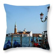 Venice View On Basilica Di San Giorgio Maggiore Throw Pillow