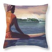 Ventura Surfer Girl Throw Pillow