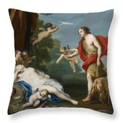 Venus And Adonis Throw Pillow