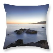 Venus And The Moon Over The Mediterranean Sea Throw Pillow