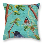 Verdigris Songbirds 1 Throw Pillow