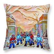 Verdun Back Lane Hockey Practice Montreal Winter City Scen Painting Carole Spandau Throw Pillow
