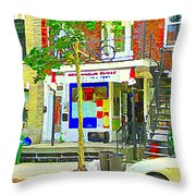 Verdun City Life Bike On Balcony Above Favorite Depanneur Montreal Stairs Summer Scenes Cspandau Throw Pillow