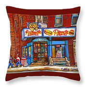 Verdun Famous Restaurant Pierrette Patates - Street Hockey Game At 3900 Rue Verdun - Carole Spandau Throw Pillow
