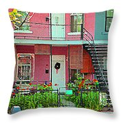 Verdun Flower Boxes Pink House Fenced Front Garden Red Flowers Staircase Scenes Carole Spandau Throw Pillow