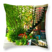 Verdun Stairs Red Flowers On Winding Staircase Tall Shade Tree Montreal Summer Scenes Carole Spandau Throw Pillow