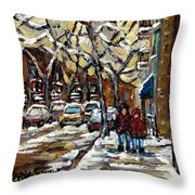Verdun Winter Row Houses In January Montreal Paintings Time For A Walk Carole Spandau Throw Pillow